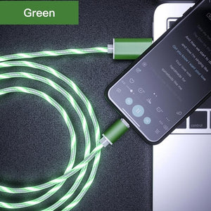 Glowing Magnetic Charger USB Cable Type C,Micro USB for Android,8 Pin Charging for Apple iPhone.