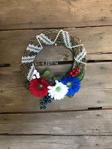"12"" RedWhiteBlue Wreath"