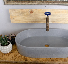 Grey Oval Shaped Concrete Sink