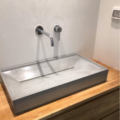 Large Grey Concrete Bathroom Sink