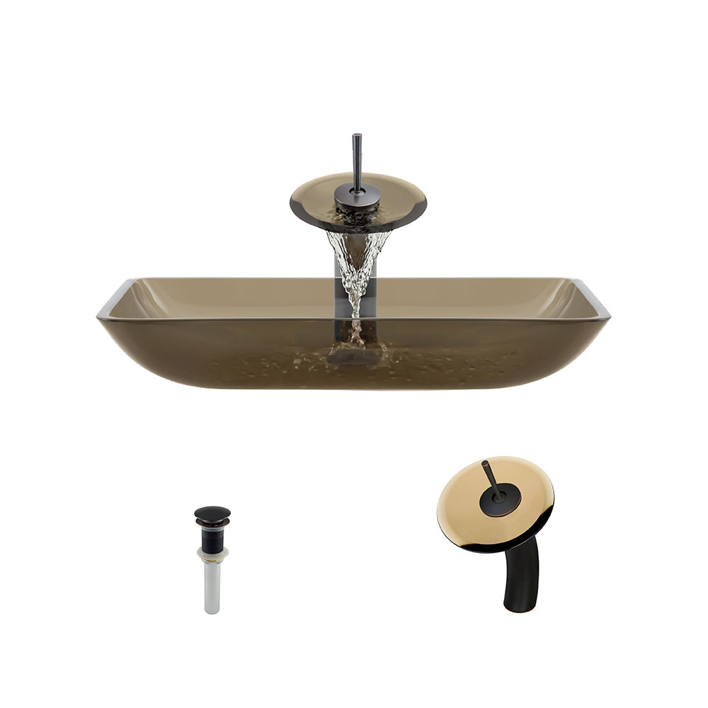 P046 Taupe Vessel Bathroom Sink Waterfall Faucet Ensemble
