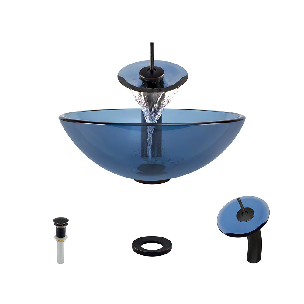 P106 Aqua Vessel Bathroom Sink Waterfall Faucet Ensemble