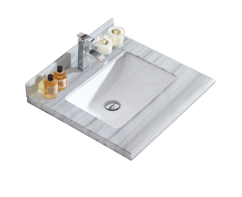 White Stripes Countertop - Single Hole with Rectangle Sink