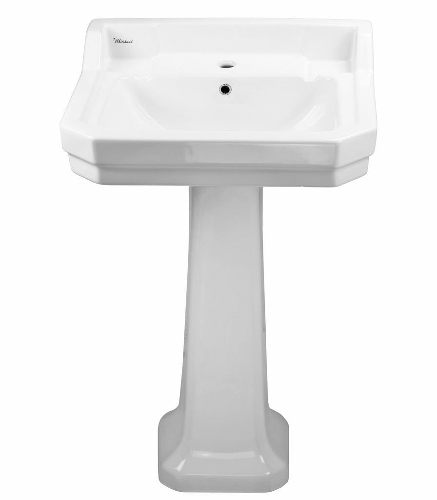 Isabella Collection Traditional Pedestal Sink with Integrated Rectangular Bowl
