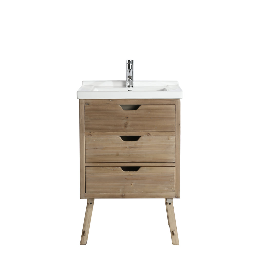 "Fredric 24"" Single Sink Bathroom Vanity - Natural"