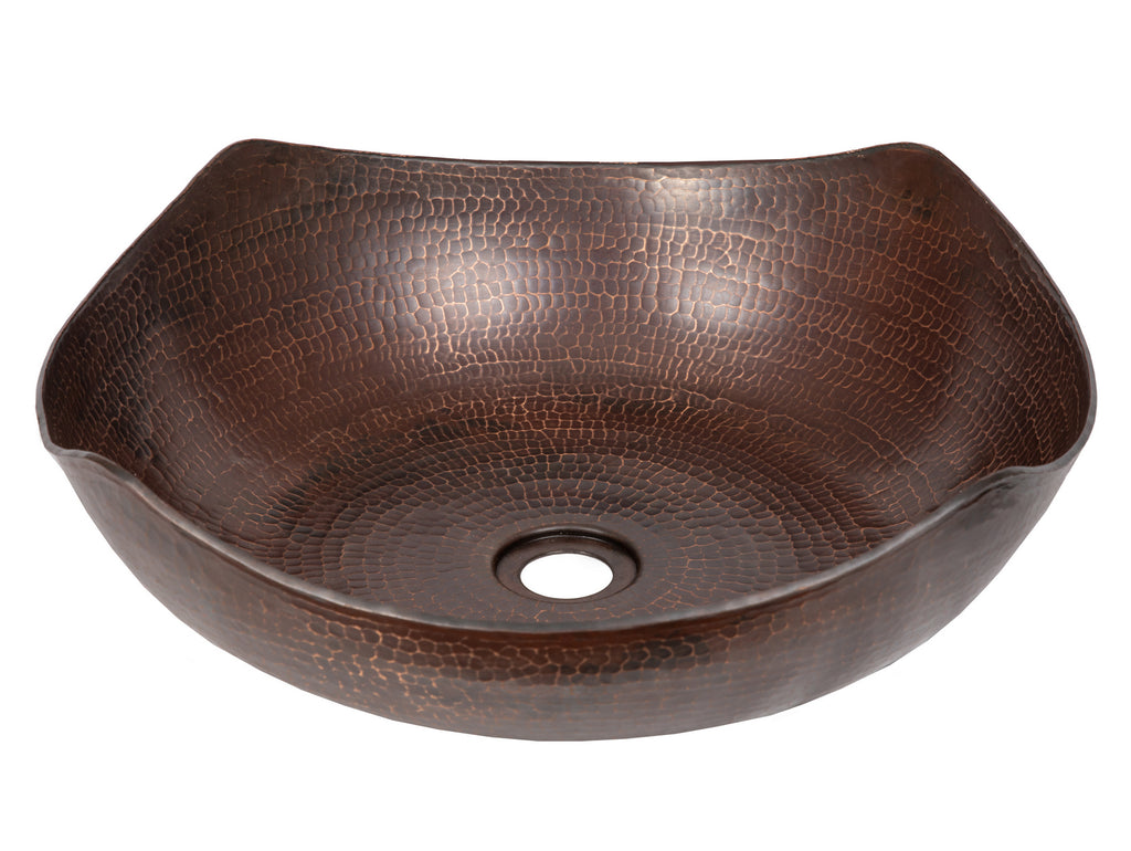 Arched Edges Copper Vessel Sink - Antique Dark Copper