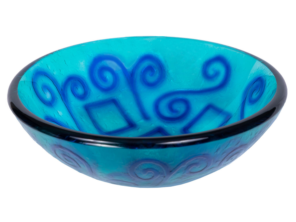Green And Blue Swirls Glass Vessel Sink