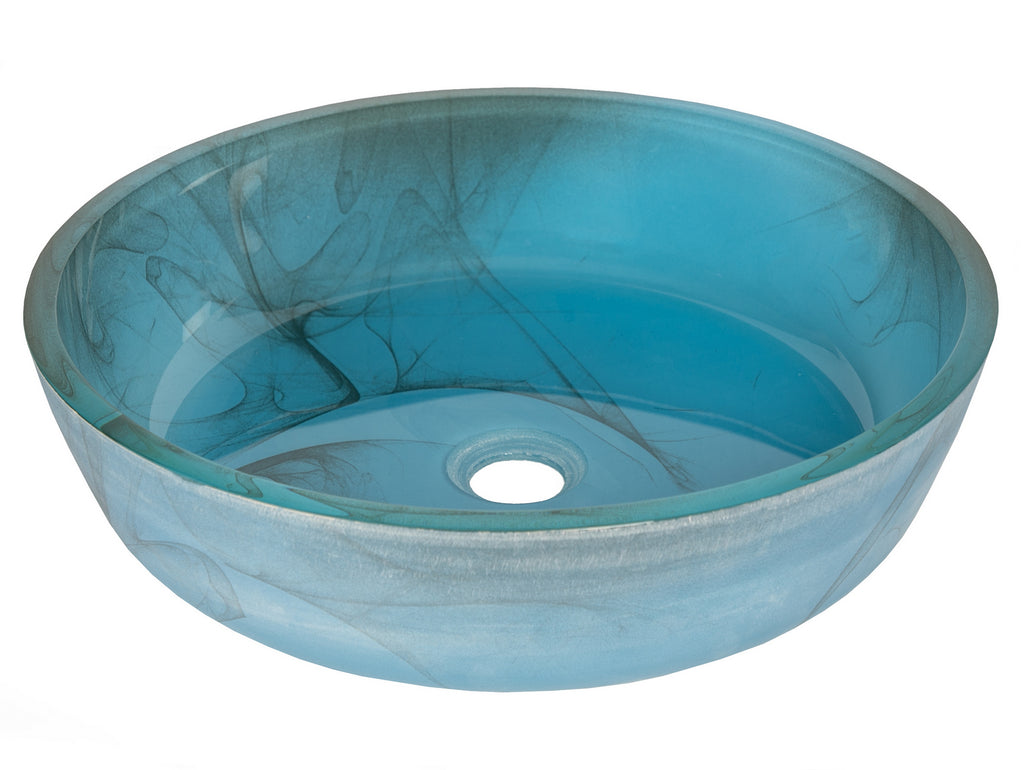 Blue Mist Flat Bottom Glass Vessel Sink