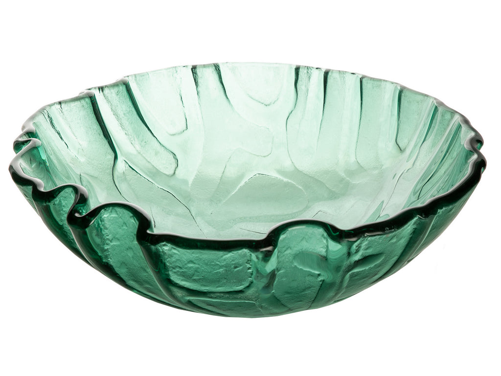 Green Free form Wave Glass Vessel Sink