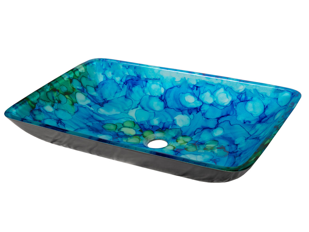 Blue and Green Water Lilies Rectangular Glass Vessel Sink