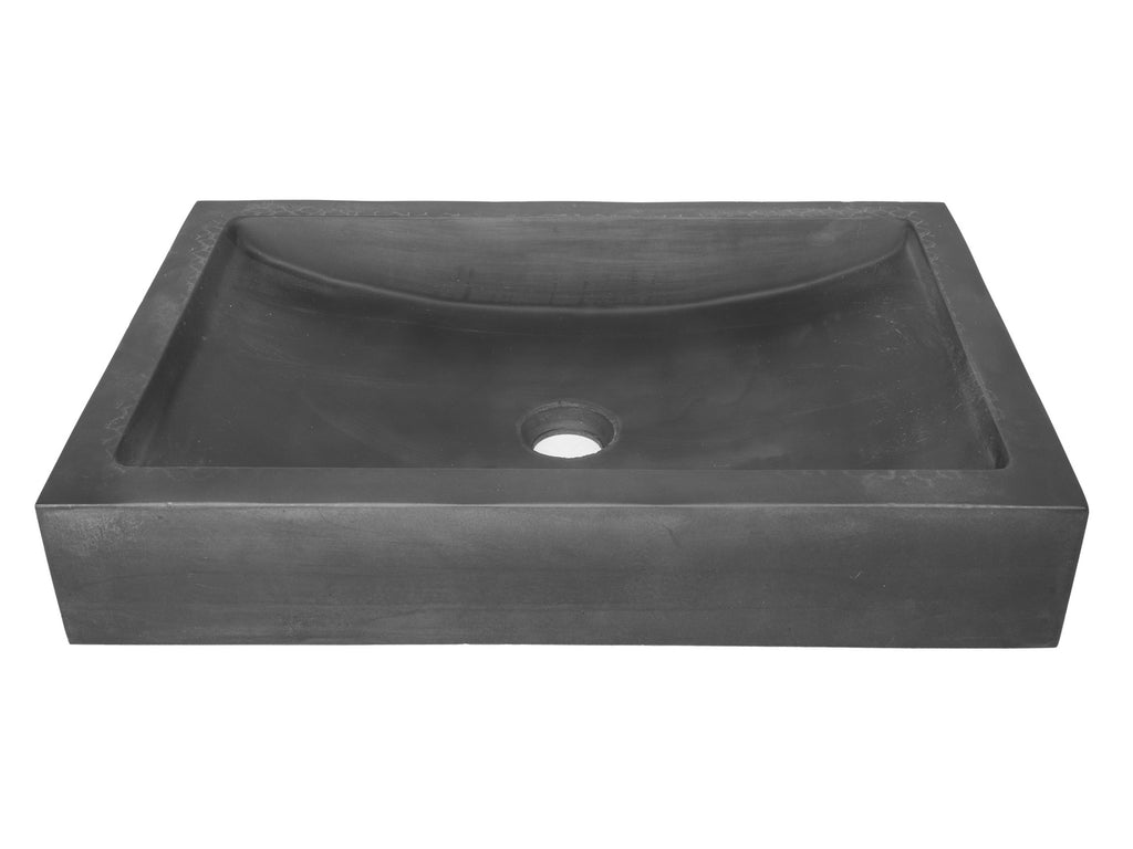 22-in. Shallow Wave Concrete Rectangular Vessel Sink - Charcoal