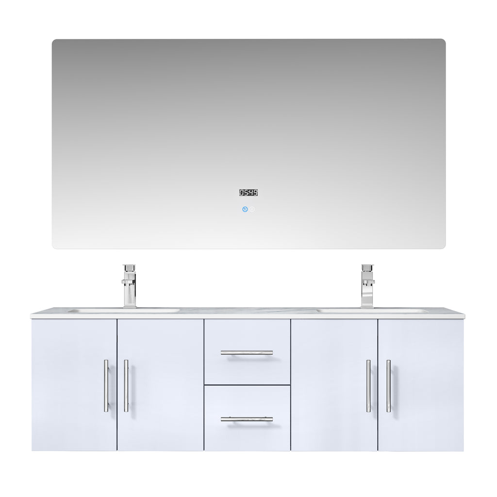 "Geneva 60"" Glossy White Double Bathroom Vanity"