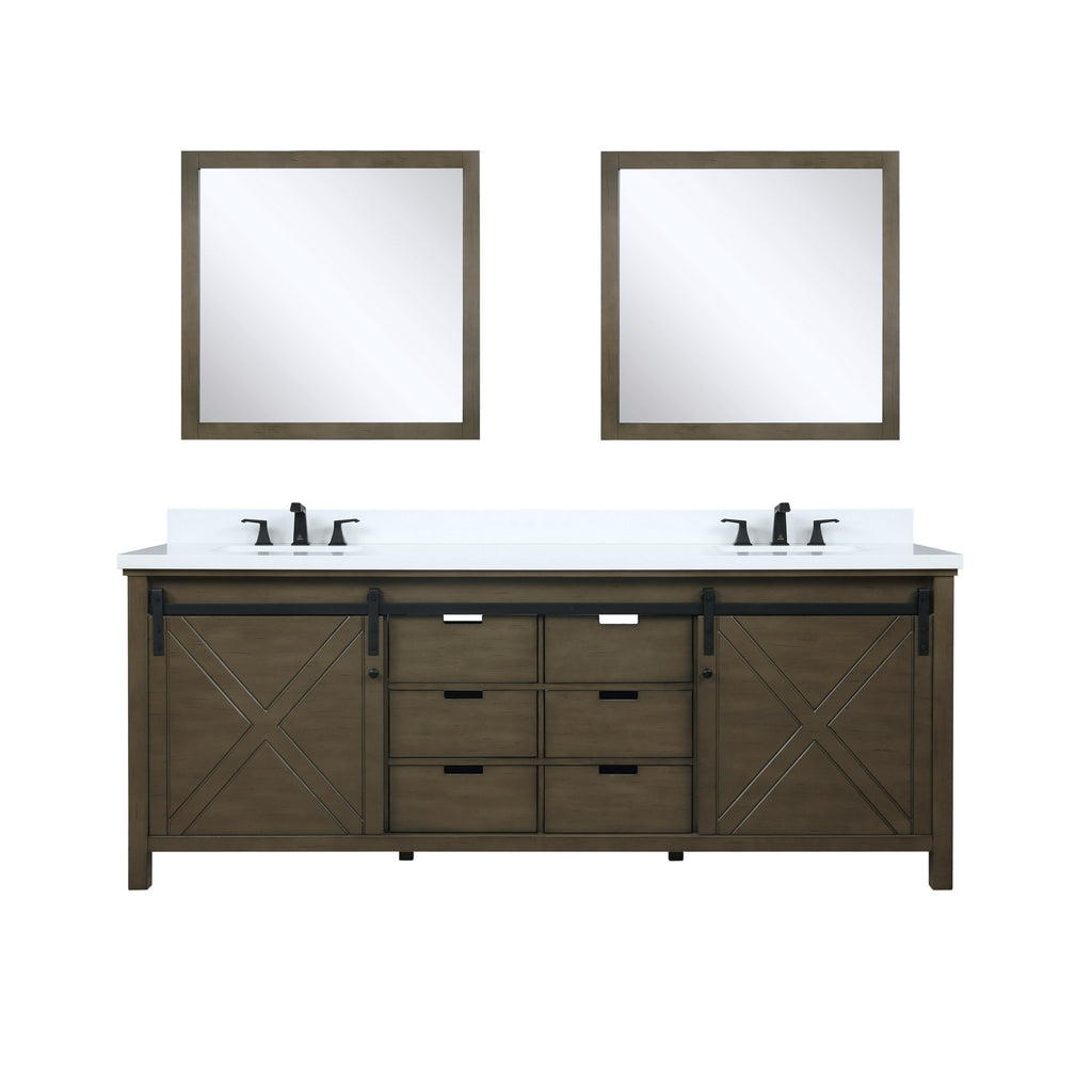 "Marsyas 84"" Rustic Brown Double Bathroom Vanity"
