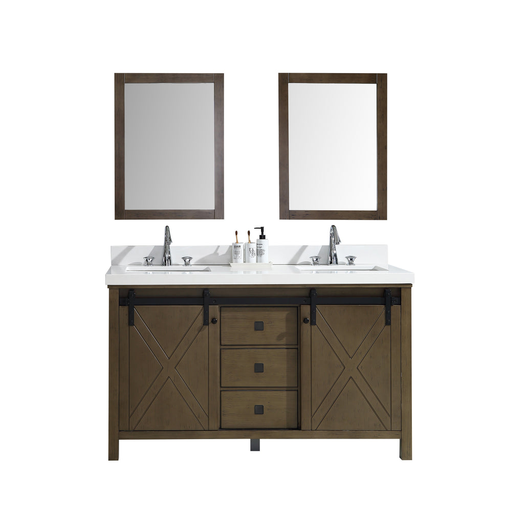 "Marsyas Veluti 60"" Rustic Brown Double Bathroom Vanity"