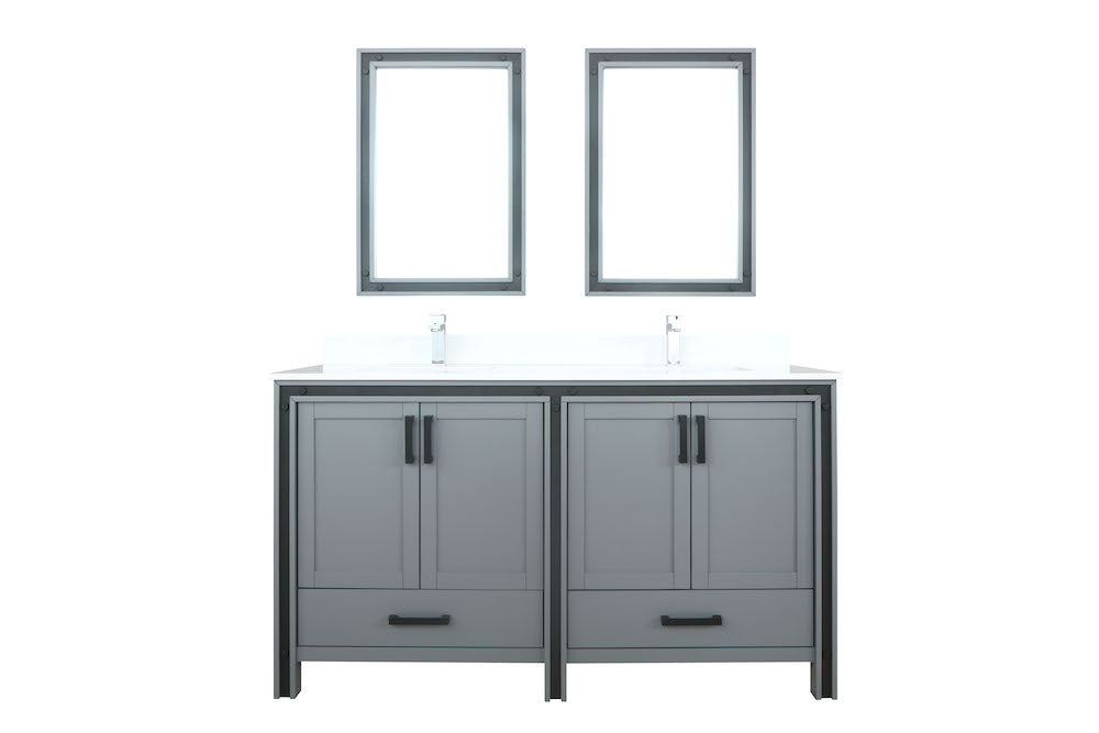 "Ziva 60"" Dark Grey Double Bathroom Vanity"