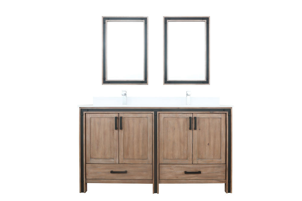 "Ziva 60"" Rustic Barnwood Double Bathroom Vanity"