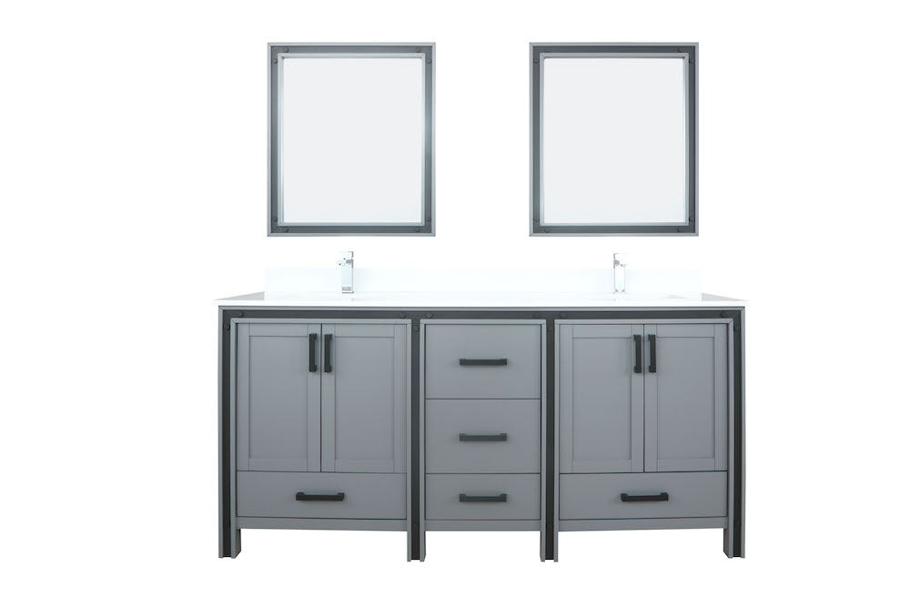 "Ziva 72"" Dark Grey Double Bathroom Vanity"