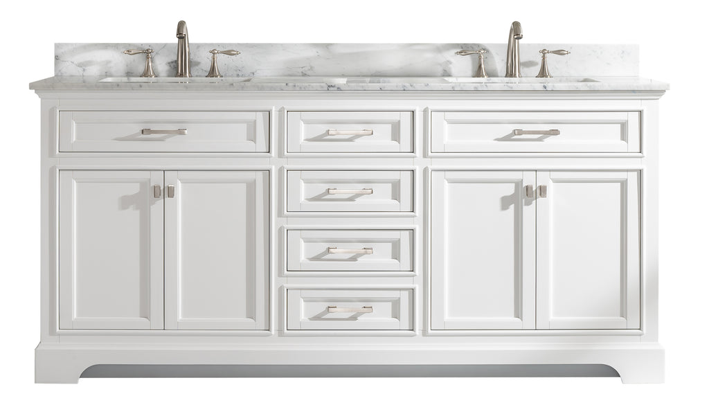 "Milano 72"" Double Sink Bathroom Vanity - White"