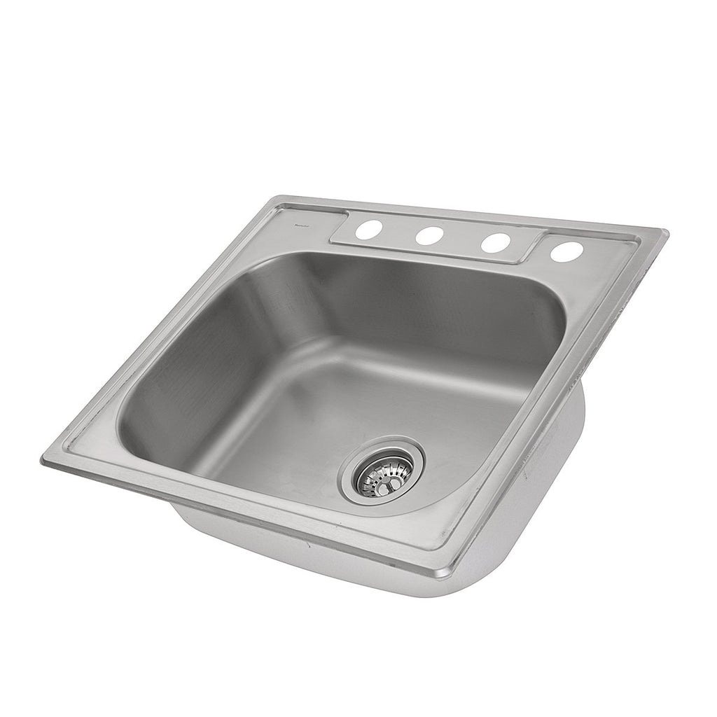 Nantucket Sinks NS2522-8 - 25 Inch Small Rectangle Single Bowl Self Rimming Stainless Steel Drop In Kitchen Sink, 18 Gauge
