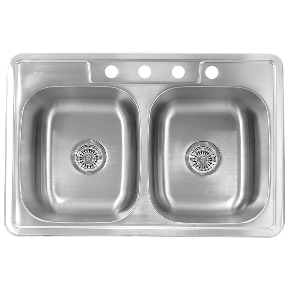 Nantucket Sinks NS3322-20-DE  33 Inch Large Rectangle Double Bowl Equal Self Rimming Stainless Steel Drop In Kitchen Sink, 20 Gauge