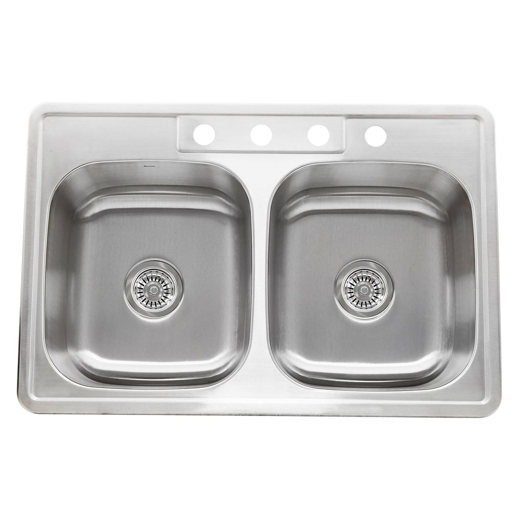Nantucket Sinks NS3322-DE - 33 Inch Double Bowl Equal Self Rimming Stainless Steel Drop In Kitchen Sink, 18 Gauge