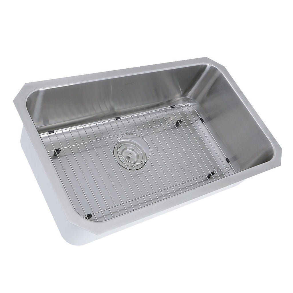 Nantucket Sinks NS43-11-16 30 Inch Large Rectangle Single Bowl Undermount Stainless Steel Kitchen Sink, 11 Inches Deep