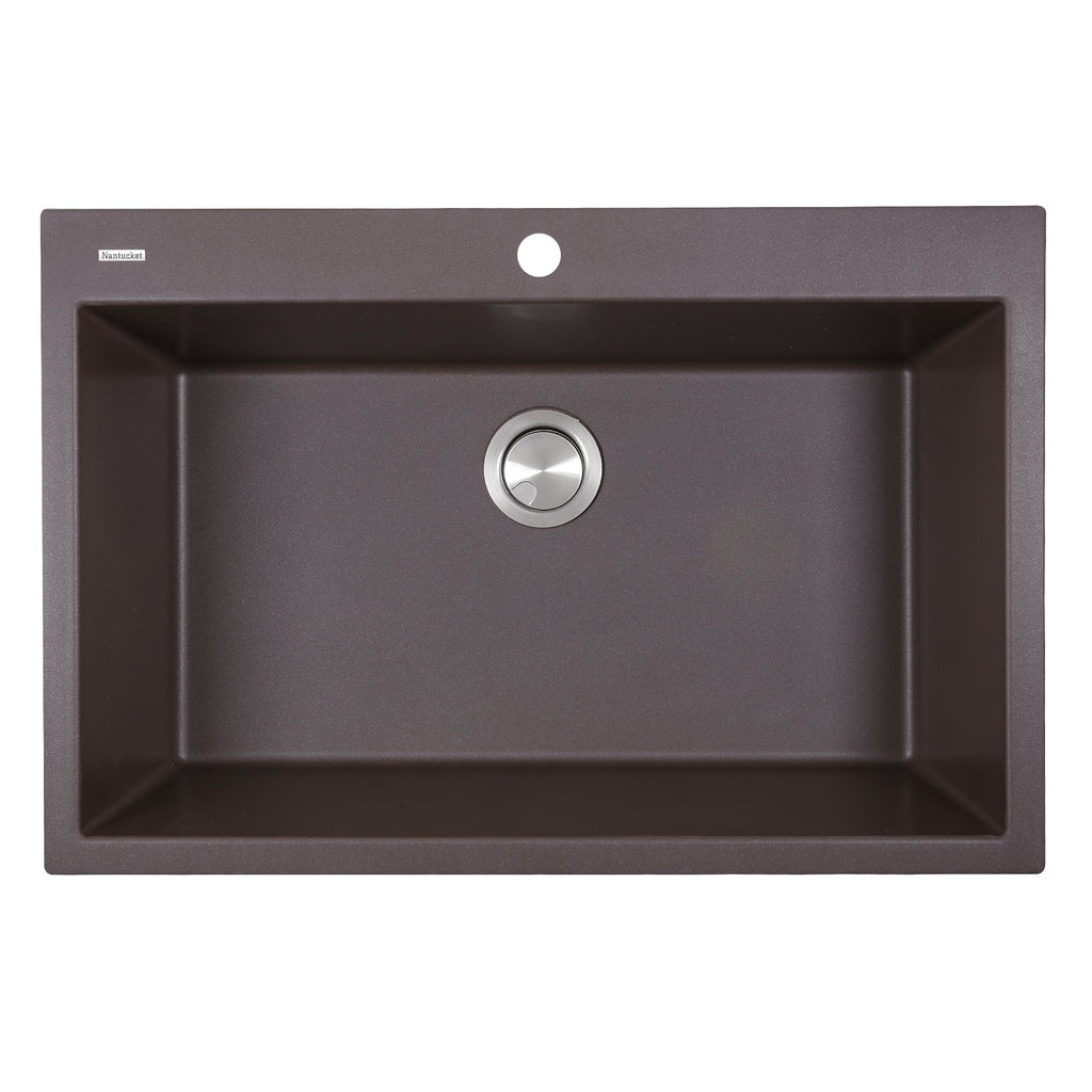 Nantucket Sinks 33-inch Dual-mount Granite Composite Sink in Brown