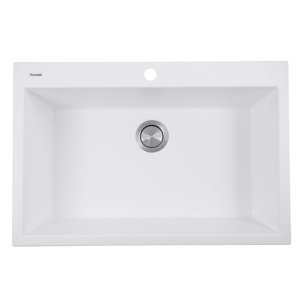 Nantucket Sinks 33-inch Dual-mount Granite Composite Sink in White
