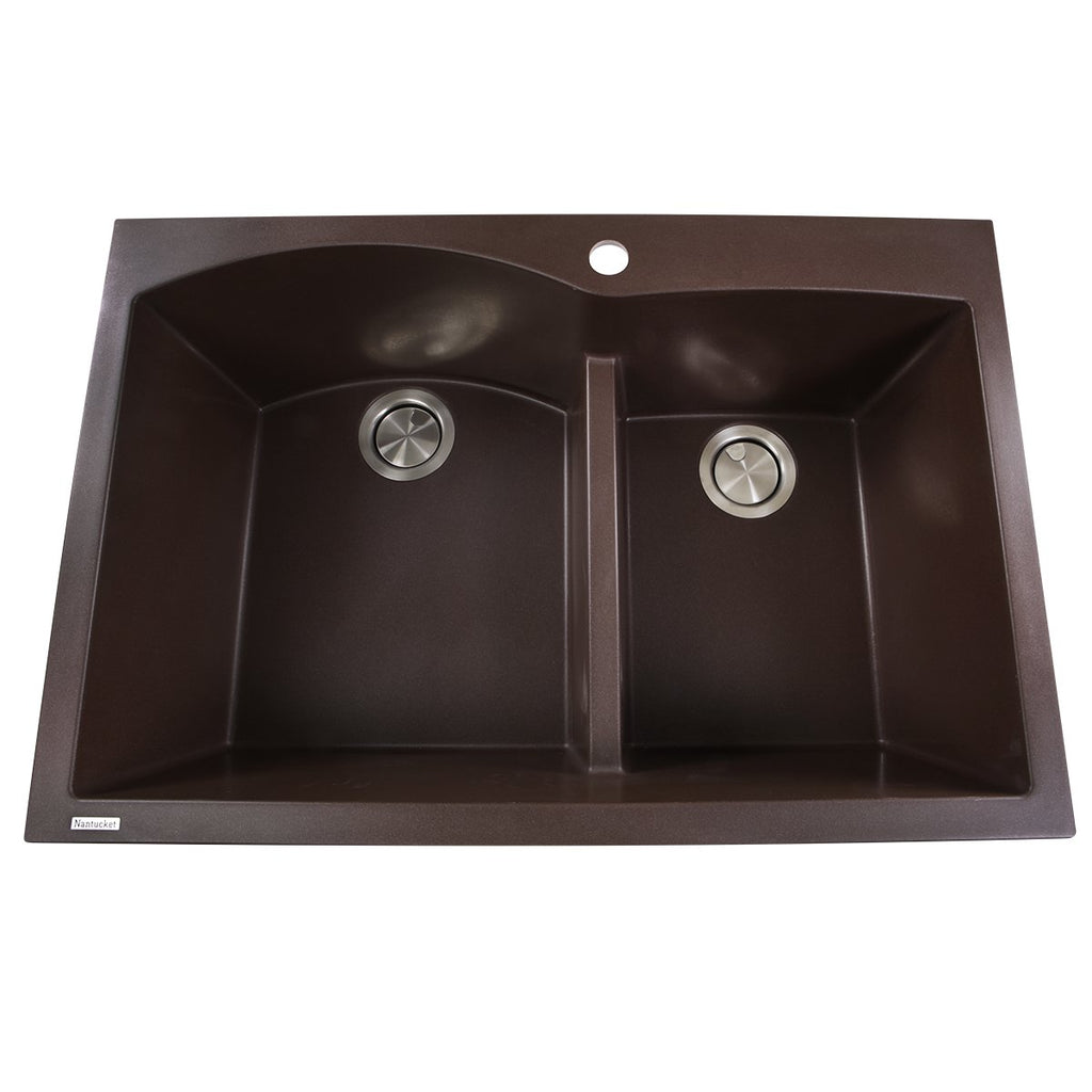 Nantucket Sinks 60/40 Double Bowl Dual-mount Granite Composite Brown