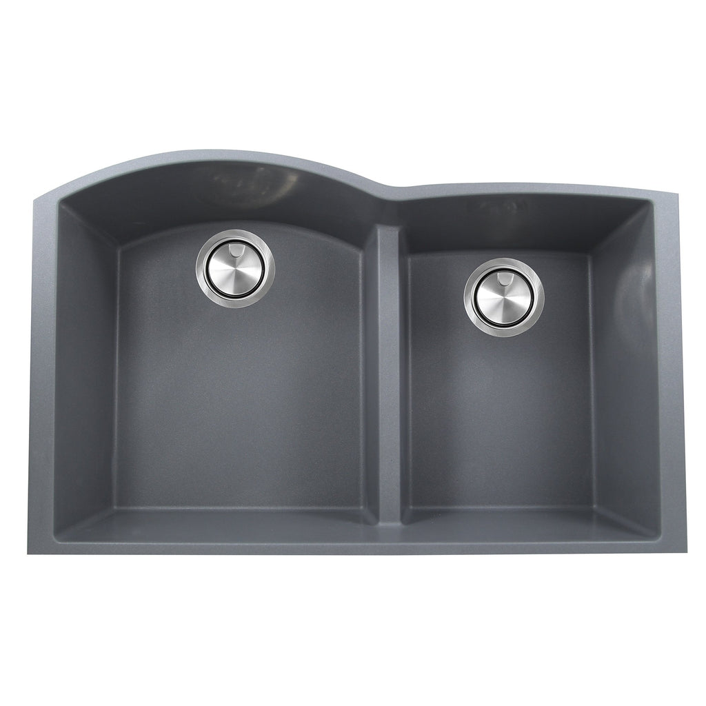 Nantucket Sinks 60/40 Double Bowl Undermount Granite Composite Titanium