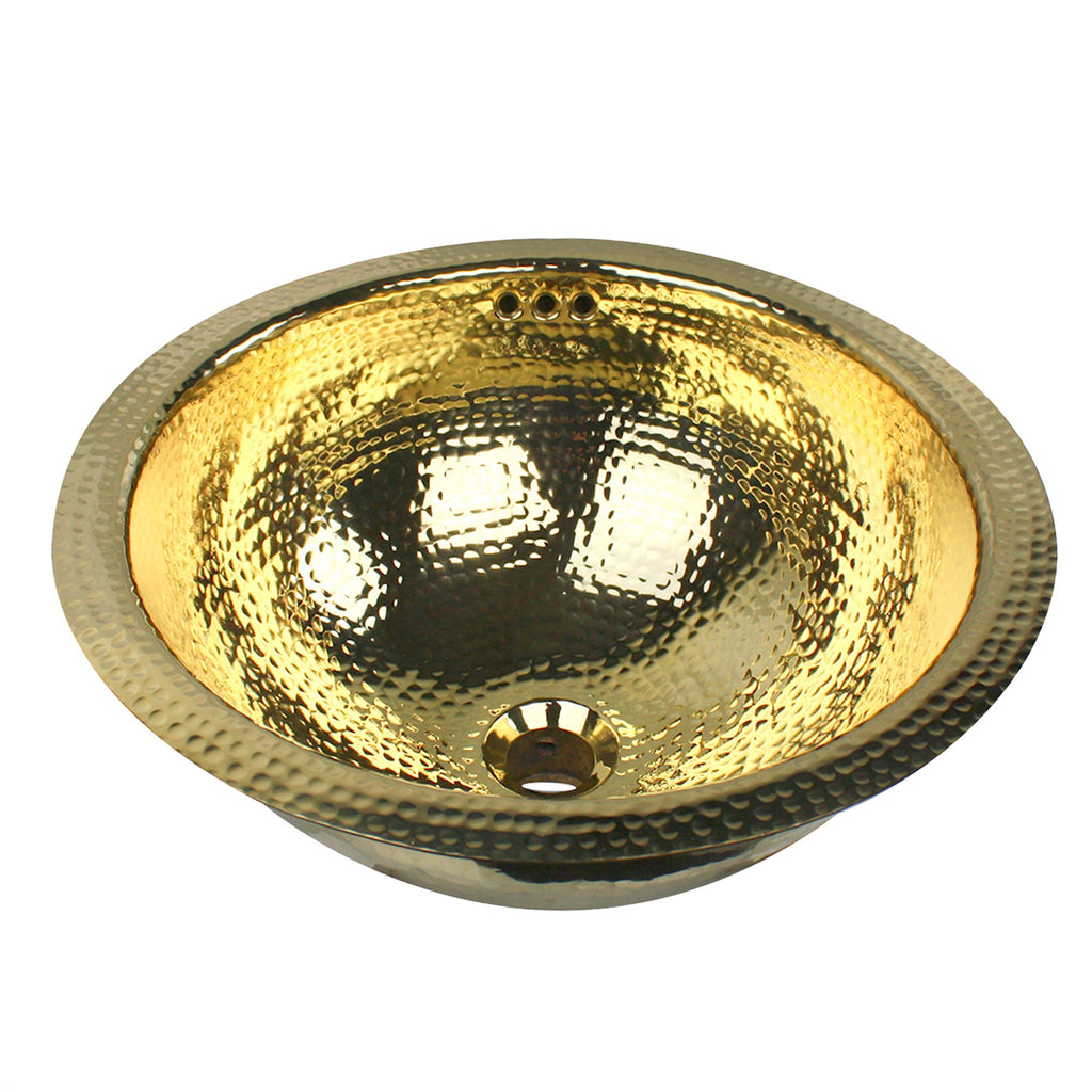 Nantucket Sinks RLB - 16.5 Inch  Hammered Brass Round Undermount Bathroom Sink With Overflow