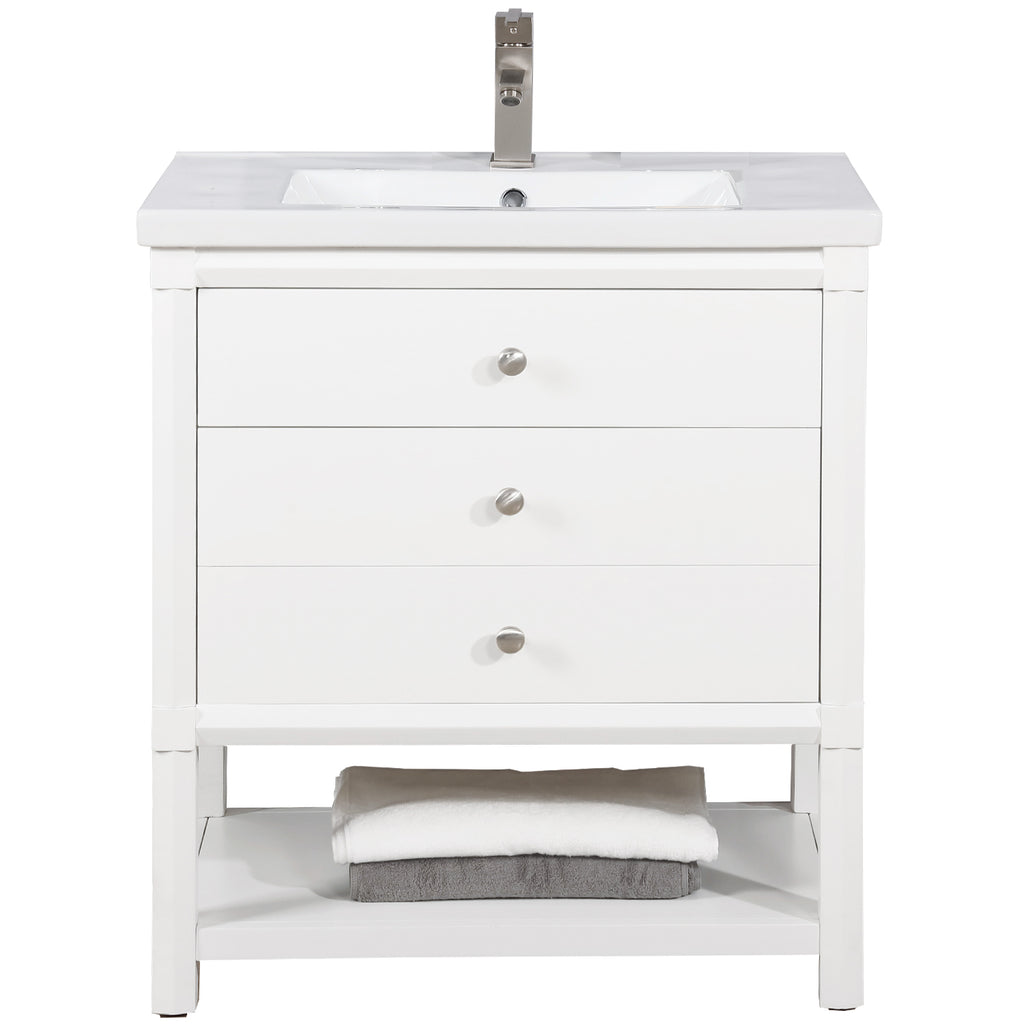 "Logan 30"" Single Sink Bathroom Vanity - White"