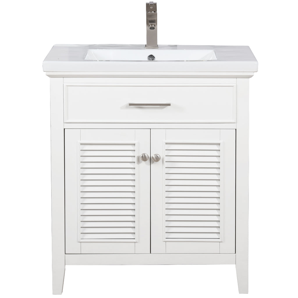 "Cameron 30"" Single Sink Bathroom Vanity - White"