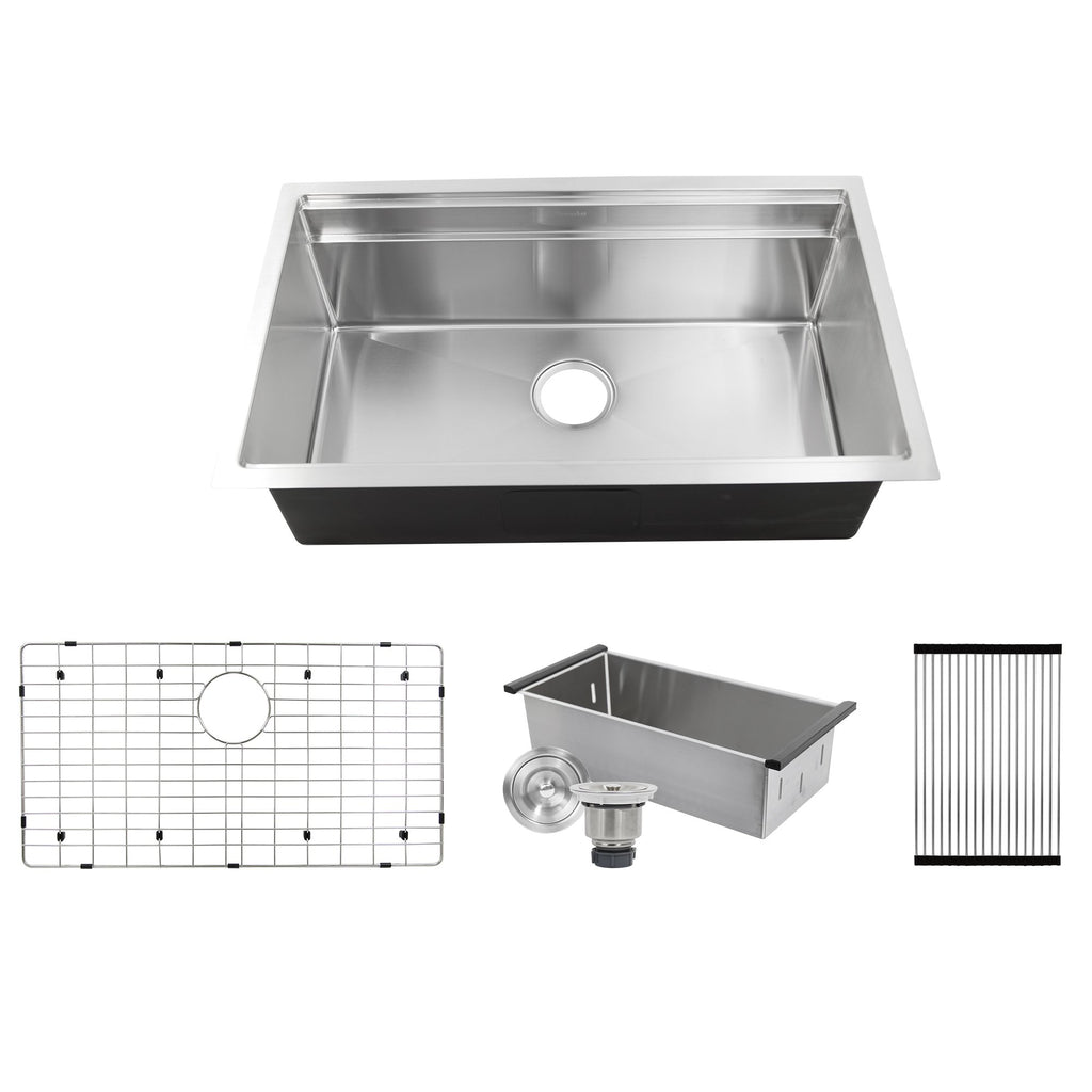 Nantucket Sinks SR-PS-3220-16 - 32 Inch Professional Prep Station Small Radius Undermount Stainless  Kitchen Sink with Accessories
