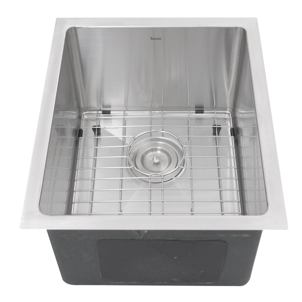Nantucket Sinks SR1815 - 15 Inch Pro Series Rectangle Undermount Small Radius Stainless Steel Bar/Prep Sink