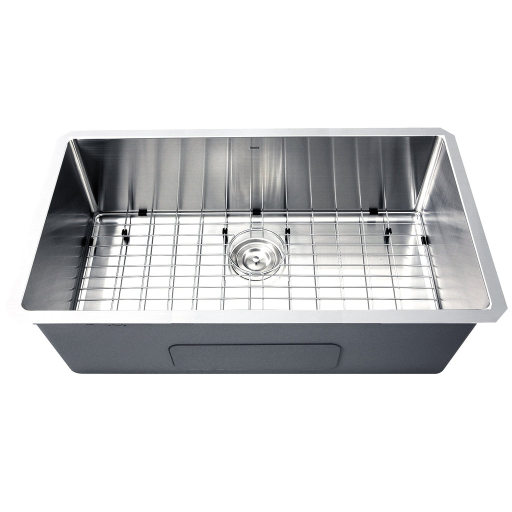 Nantucket Sinks SR3218-16 - 32 Inch Pro Series Large Rectangle Single Bowl Undermount Small Radius Corners  Stainless Steel Kitchen Sink