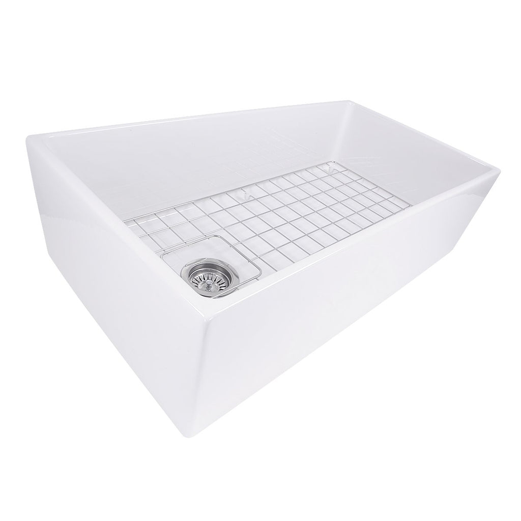 Nantucket Sinks 36 Inch Farmhouse Fireclay Sink with Offset Drain and Grid
