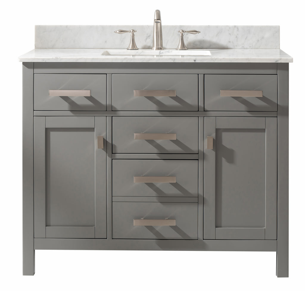 "Valentino 42"" Single Bathroom Vanity - Gray"
