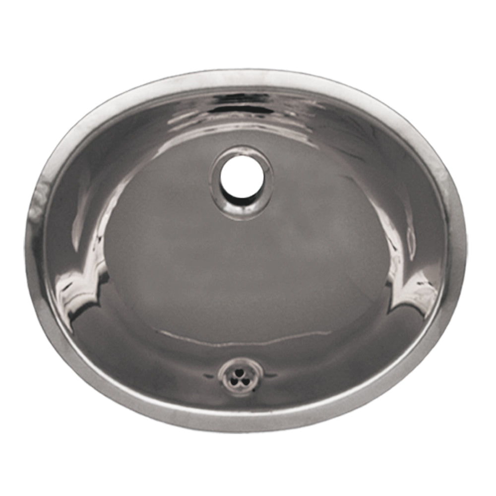 "Decorative Smooth Oval Undermount Basin with Overflow and a 1 1/4"" Rear Center Drain"
