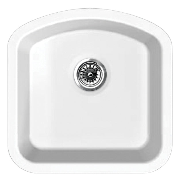 "Elementhaus Fireclay Single D-Shaped Bowl Drop-In/Undermount Sink with 3 ½"" Rear Center Drain."