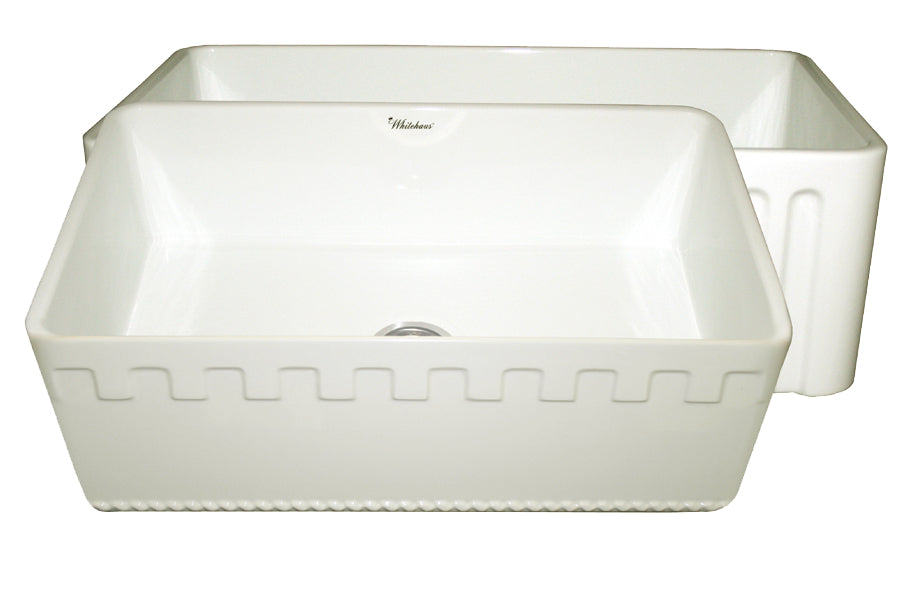 Farmhaus Fireclay Reversible Sink with a Castlehaus Design Front Apron on One Side  and Fluted Front Apron on the Opposite Side