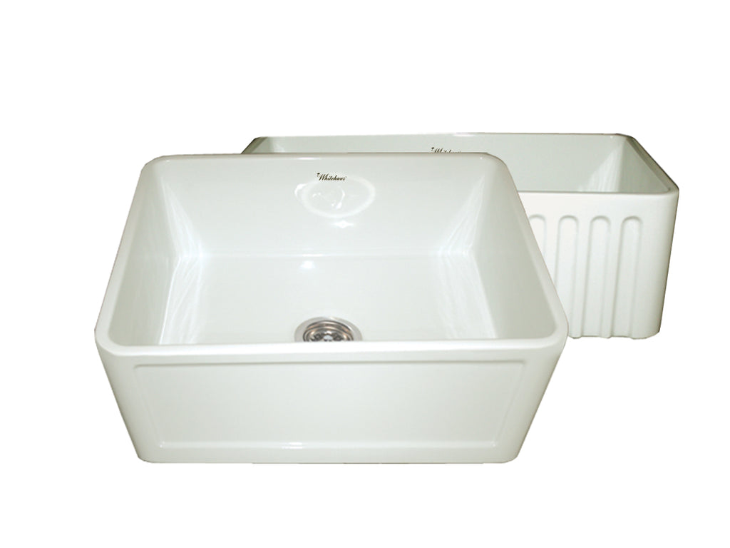 Farmhaus Fireclay Reversible Kitchen Sink with a Concave / Fluted Front Apron