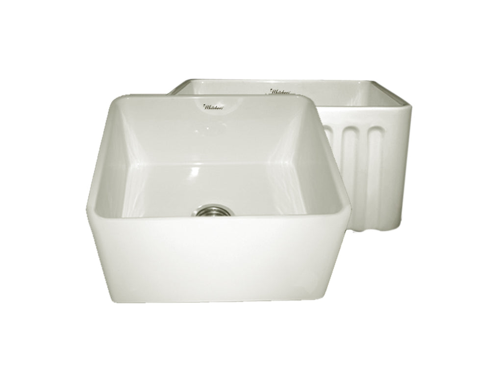 Farmhaus Fireclay Reversible Kitchen Sink with Smooth / Fluted Front Apron