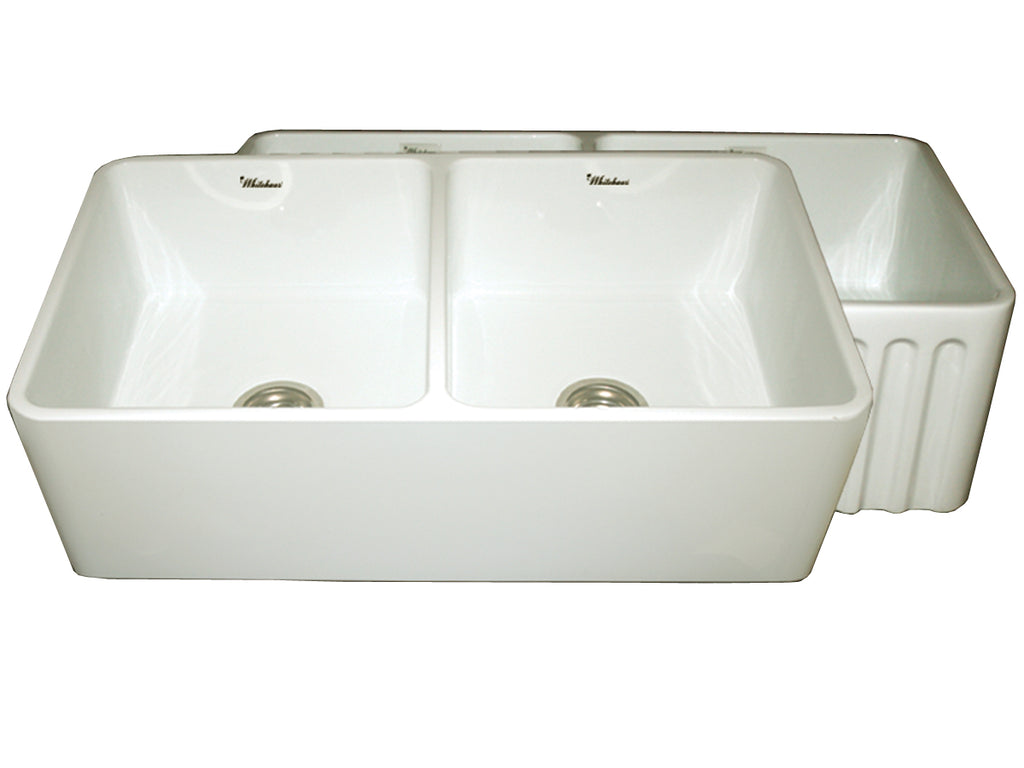 Farmhaus Fireclay Reversible Double Bowl Kitchen Sink with Smooth / Fluted Front Apron