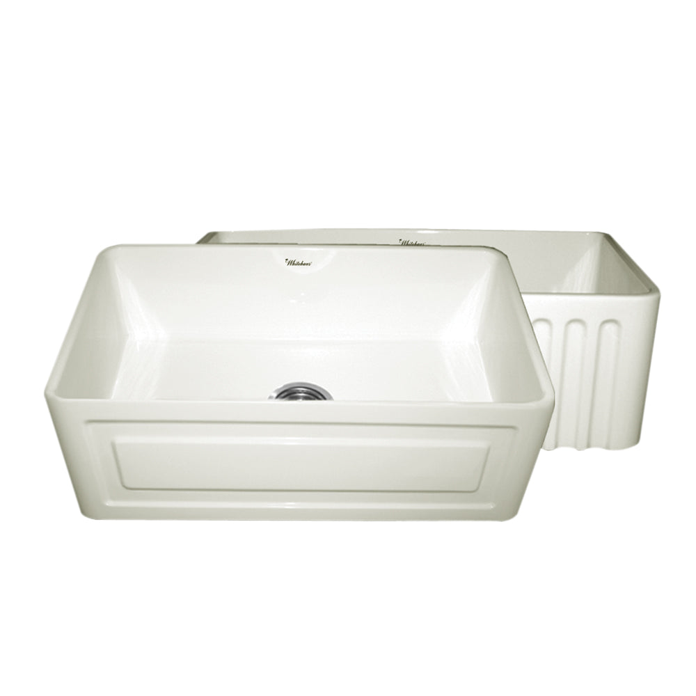 Farmhaus Fireclay Reversible Kitchen Sink with a Raised Panel / Fluted Front Apron
