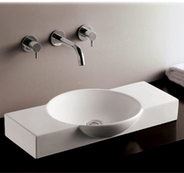 Isabella Collection Rectangular Above Mount Basin with Integrated Round Bowl and a Center Drain