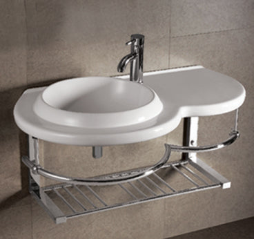 Isabella Collection Large Wall Mount Basin with Integrated Round Bowl, Single Faucet Hole and Center Drain