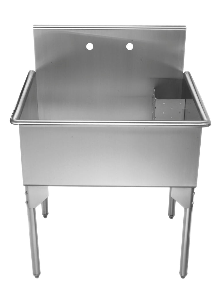 Pearlhaus Brushed Stainless Steel  Single Bowl Commerical Freestanding Utility Sink