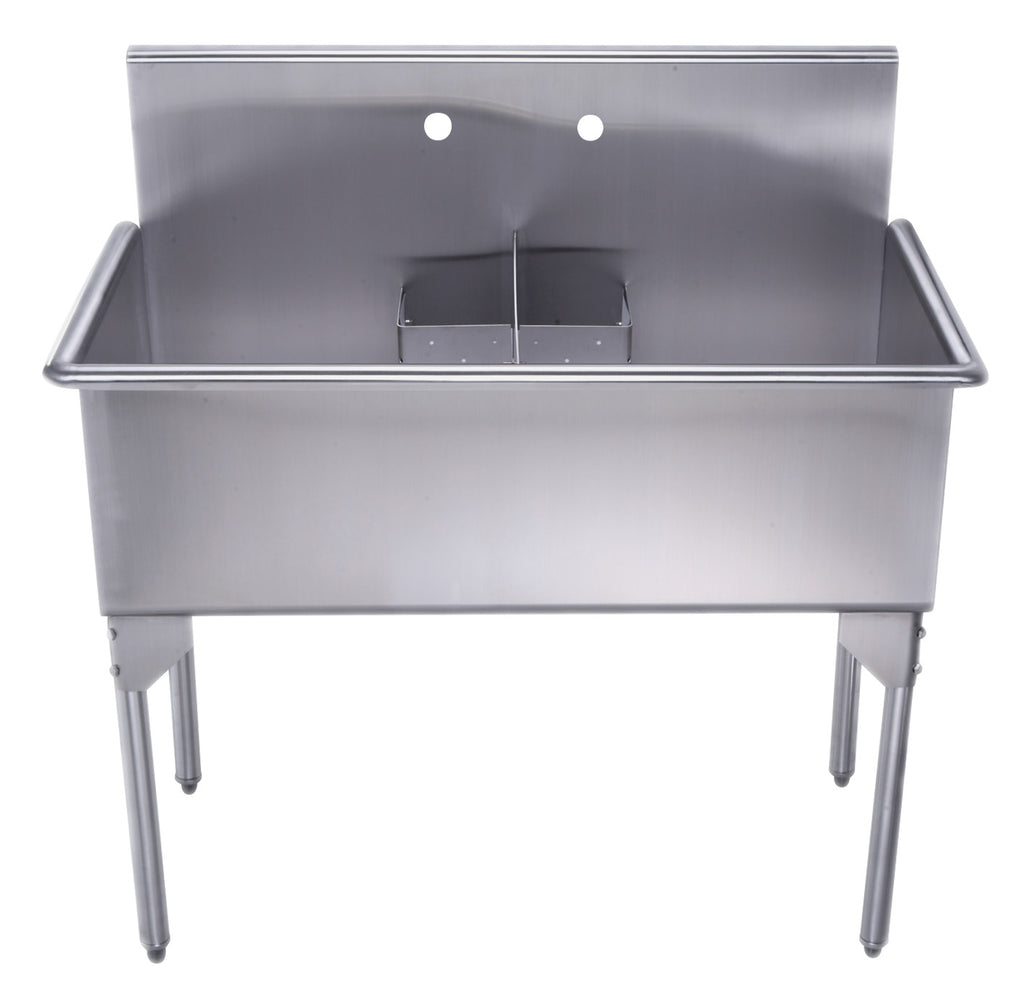 Pearlhaus Brushed Stainless Steel Double Bowl Commerical Freestanding Utility Sink