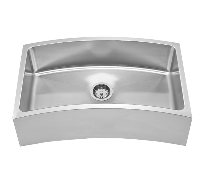 Noah's Collection Brushed Stainless Steel Chefhaus Series Single Bowl Front Apron/Undermount Sink with a Curved Design
